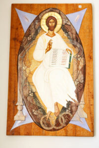 """Christ Pantocrator"" (""Jesus Creator of All"") is the work of Romanian sculptor/painter Marian Zidaru."