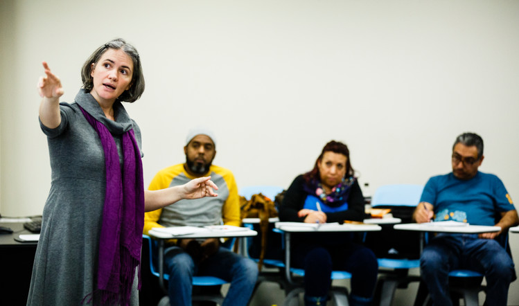 Theology professor Christine Luna Munger lectures during a Hispanic Lay Ministry class.