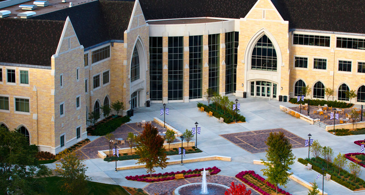An aerial view of the Anderson Student Center, John P. Monahan Plaza, and the fountain. Taken September 23, 2012.