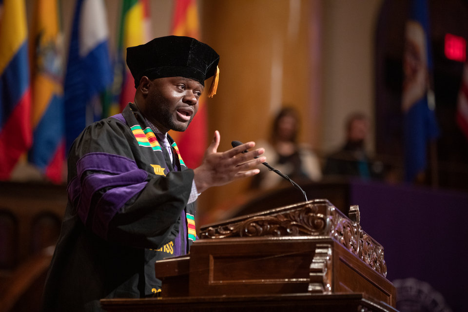 The student speaker gives an address during the 2019 School of Law Commencement Ceremony at Westminster Presbyterian Church in Minneapolis on May 18, 2019.