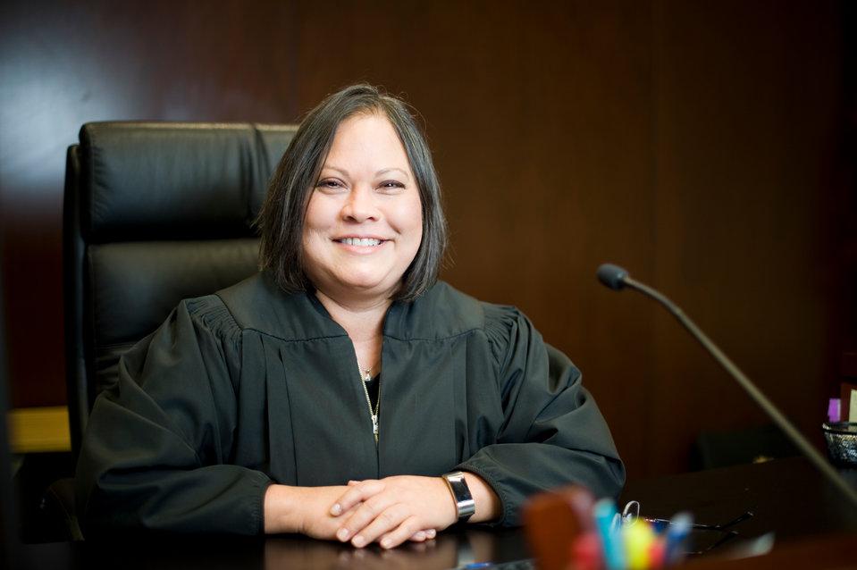 Portrait of School of Law graduate Judge Mariana Vielma '05. Vielma was recently named a Judge in Adams County, Colorado. Photo credit: Brooks Canaday