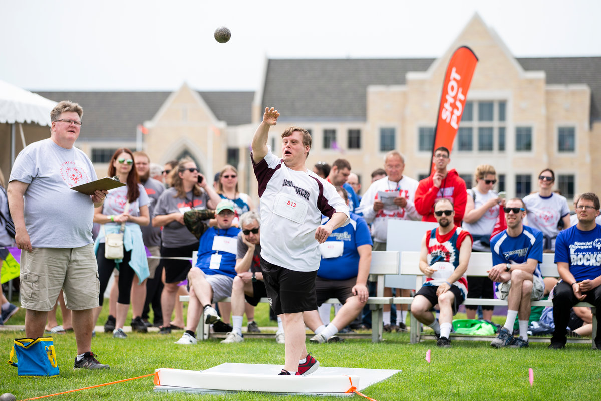 An athlete competes in the shot put during the Special Olympics Minnesota, which was hosted on the University of St. Thomas campus