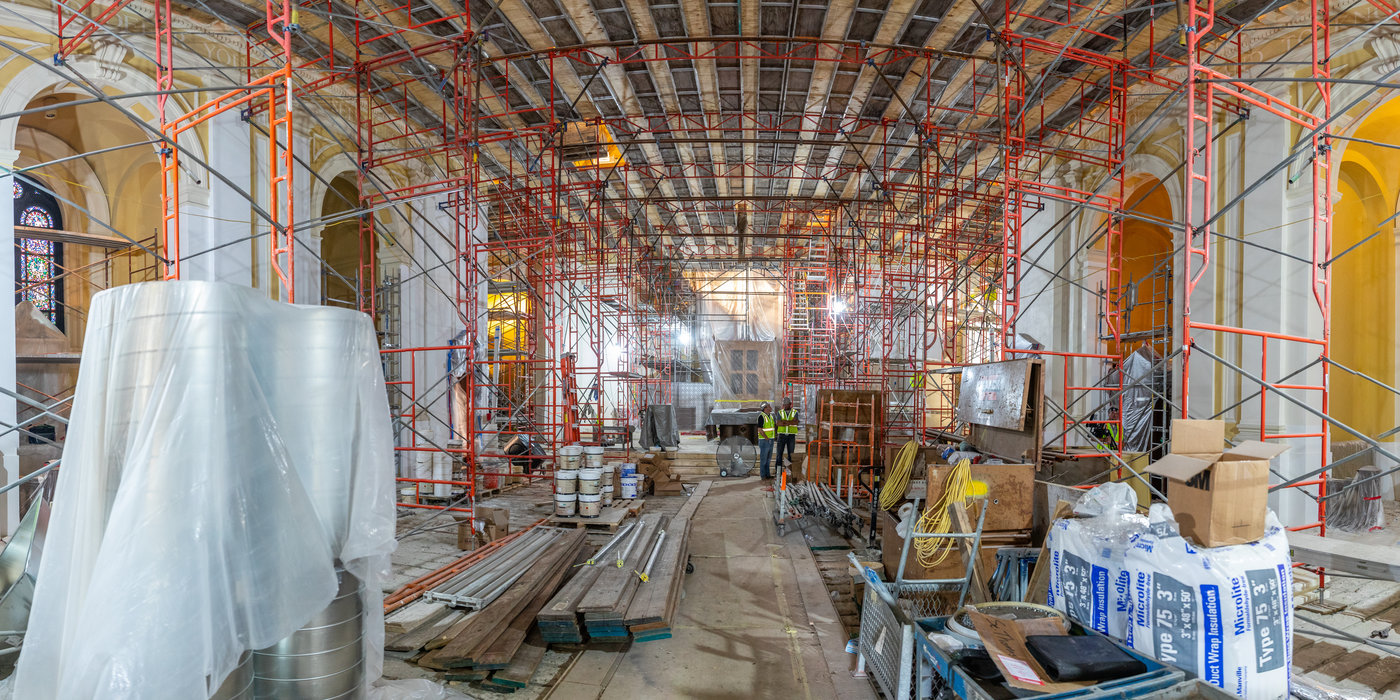 Construction in the Chapel of St. Thomas Aquinas during renovations on July 18, 2019, in St. Paul.