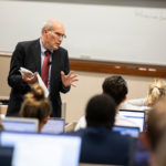School of Law Professor Neil Hamilton teaches an ethics class on September 9, 2019, in the School of Law Building in Minneapolis.