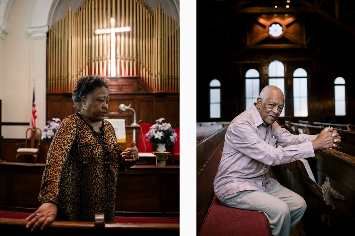Civil rights historian and activist Joyce O'Neill, left, speaks to students at Brown Chapel AME Baptist Church in Selma. Hollis Watkins, right, was one of the first Mississippians to join the Student Nonviolent Coordinating Committee. He traveled the state organizing voter registration efforts. Watkins shared stories and freedom songs with St. Thomas students at Tougaloo College in Mississippi.