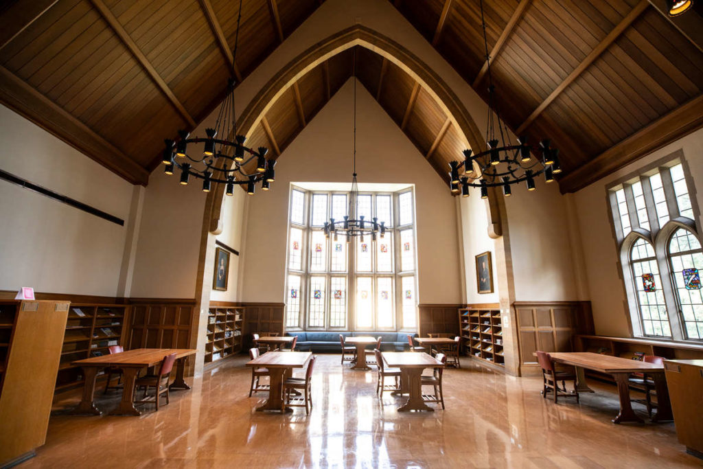 The O'Shaughnessy-Frey Library Center Great Hall, also known as the Harry Potter room, is quiet prior to the start of Fall Semester. Mark Brown/University of St. Thomas