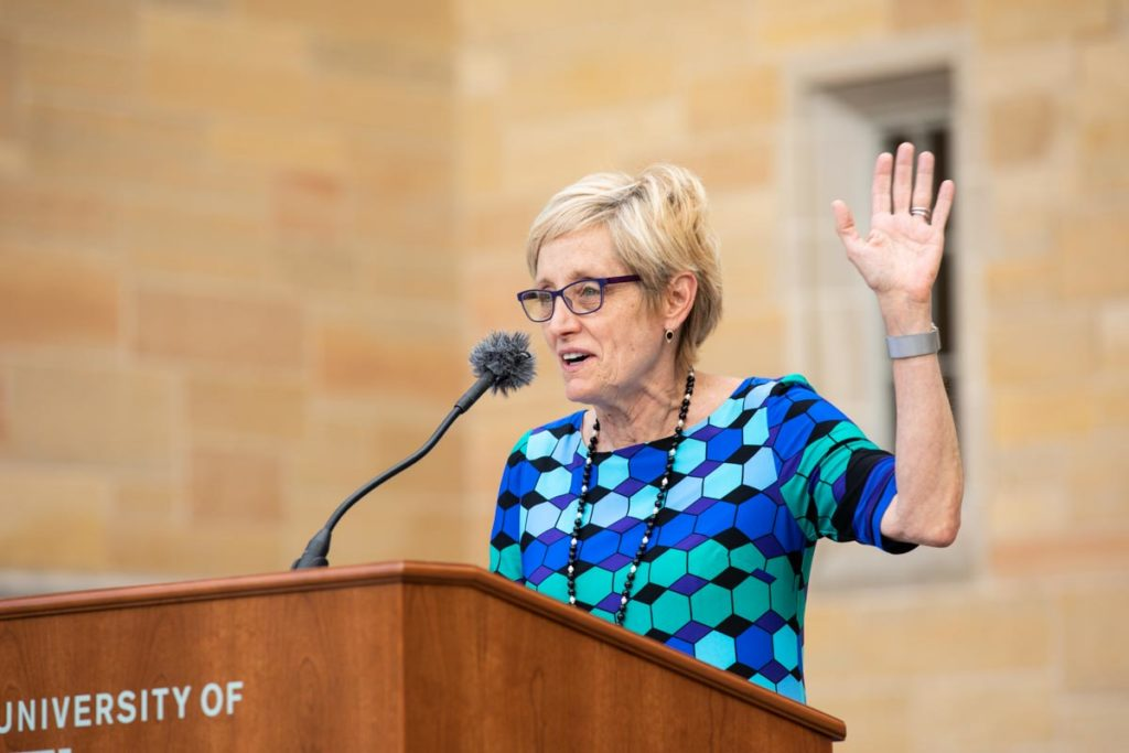 President Julie Sullivan speaks during the annual March Out of the Arches event. Mark Brown/University of St. Thomas