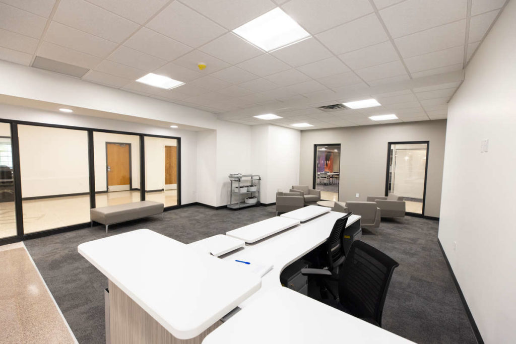 A view of the completed interior of the Alumni Corporate and Careers.